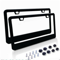 2 Piece BLACK Stainless Steel Metal License Plate Frames Tag Cover Screw Caps