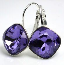 Silver Plated Earrings SHEENA*TANZANITE* 12mm Crystals from Swarovski®