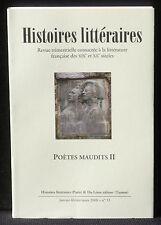 Revue Histoires littéraires n° 33  2008  Du Lérot Poètes maudits II NM