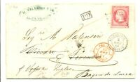 FRANCE EGYPT ALEXANDRIE 1861 LETTER TO ITALY - REDIERCTED -VF --RARE !!