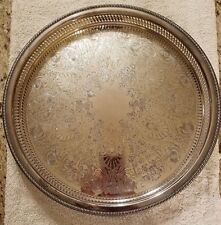 """ROGERS SILVER PLATE PLATED SERVING TRAY 15"""" LOVELY DESIGN! 4372G"""