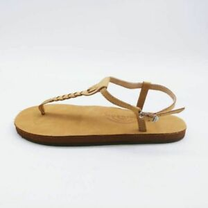 Rainbow Sandals Womens T Street Flat Shoes Brown Braided Ankle Strap 37.5 New