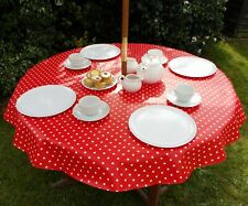 140CM ROUND WIPE CLEAN PVC TABLECLOTH WITH PARASOL HOLE - RED & WHITE POLKA DOT