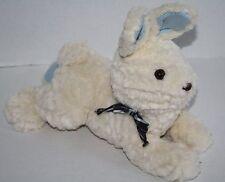"Gymboree BUNNY RABBIT 12"" Baby Toy Blue Knit Ears Feet Bow Plush Stuffed Animal"
