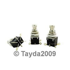 2 x 2PDT DPDT Latching Stomp Foot Pedal Push Button Switch Solder Lugs FREE SHIP