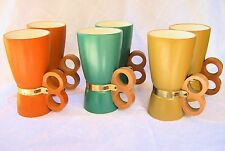 Vintage Mug Set Mid Century Danish Modern-Tiki Ceramic-Wooden Knuckle Handle