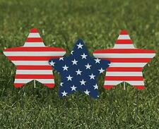 Set of 3 American Flag Themed Stars Patriotic Yard Stakes Outdoor Garden Display