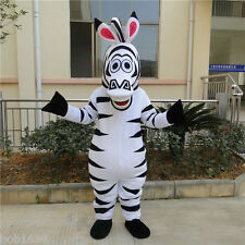 Adult Madagascar Zebra Mascot Costume Marty Cartoon Halloween Cosplay Party Dess