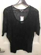 BRAND NEW WITH TAGS Ladies Mesh Black Batwing Top Size Medium