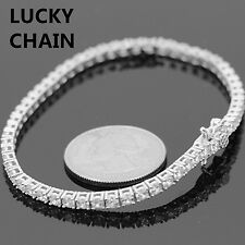 """925 STERLING SILVER ICED OUT TENNIS LINK BRACELET 7.6"""" 11g R133"""