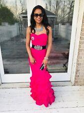 New Designer Hot pink classy elegant long Ruffled Glam Formal gown Dress XS 0-2