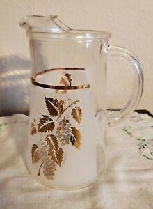 Vintage Libbey Gold Leaf & Grapes Juice Pitcher