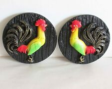 """2 Pc Vintage Rooster Wall Plaques Chalkware Miller Studios 1977 5.5"""" Free Sh"""