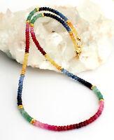 Rubin Saphir Smaragd Kette edelsteinkette Regenbogenkette Bunt Collier 925Silber