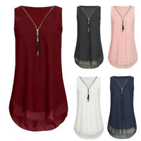 Women Loose Sleeveless Tank Top Cross Back Hem Layed Zipper V-Neck T Shirts Top