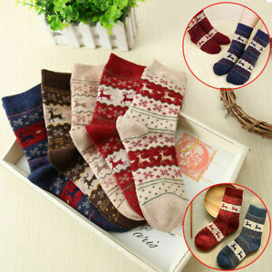 5pairs Women Winter Socks Christmas Warm Wool Sock Cute Snowflake Deer Size 5-10