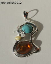 Lovely Baltic Amber and Turquoise  Pendant with Silver 925
