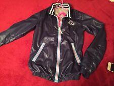 Fred Mello Women's Jacket Bomber, Light Jacket, Navy, Vinyl Effect size S Hood
