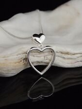 """Sterling Silver 925 Jewellery Hanging Heart Pendant 16/18/20"""" Necklace Gift Box"""