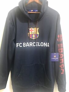 New FC Barcelona Size M Logo Soccer Hoodie Jacket With Pockets Youth Navy Blue