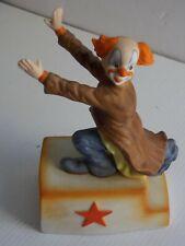 Vintage Japanese Mann Clown Figure Music Box hand paintedRare.