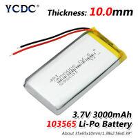 3.7V 3000mAh Li-Po Rechargeable Battery 103565 For DVD GPS PAD Mobile Phone EDA