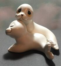 Vintage Mother & Baby Pup White Seals Figurines Mexico Ceramic Oxford Figures