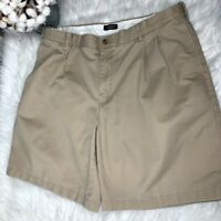 Lands End Men's Traditional Fit Pleated Khaki Chino Shorts Size 38 Inseam 8.5""