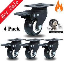 Set Of 4 Heavy Duty Swivel Casters With Lock Brakes 2 Polyurethane Wheels