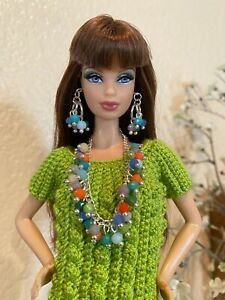 Handmade Jewelry for Barbie Multi-Colored Pastel Crystals Necklace And Earrings
