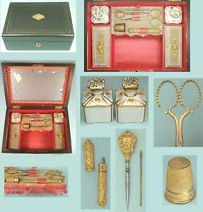 Antique Ebonized Workbox & Gilded Tools & Perfume Bottles * French * Circa 1880
