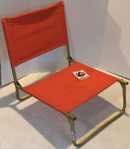 Vintage Lafuma Canvas Folding Beach Chair Made In France w/ Tag Deadstock Red