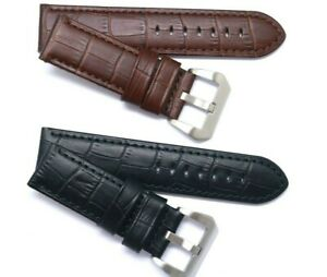 22 24 26mm Black or Brown Croco Embossed Leather Watch Band For Invicta & Others