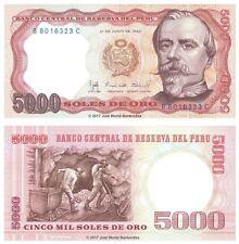 Peru 5000 Soles De Oro 1985 P-117c Banknotes UNC