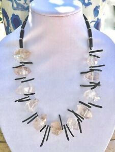 Rock Crystal Black Onyx Beads Black Resin Spears Silver Tone Necklace 25 Inches