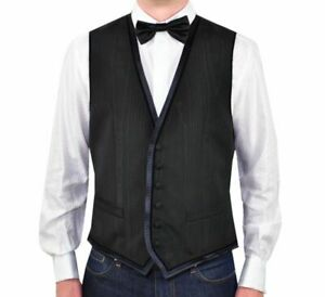 D&g Dolce & Gabbana Moire Vest Black Waistcoat 46 S 00886