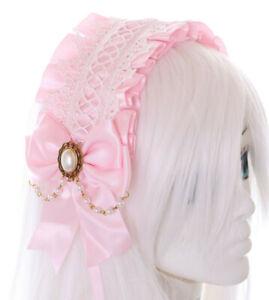 C-04-3 Rosa Zofe Maid Lolita Haarband mit Schleife Perlenkette Gothic Kopfband