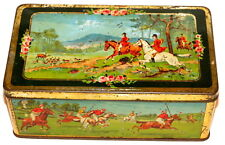 English Riley Horse Deer Boar Hunting Dog Sports Polo Candy Toffee Tin 1920