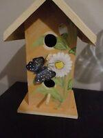 HAND PAINTED BUTTERFLY FLOWER WOODEN BIRD HOUSE