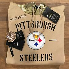 Authentic Nike Mens Pittsburgh Steelers 2019 NFL Salute to Service Tan Hoodie