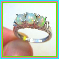 Ethiopian Welo Opal Diamond 3stone Ring Platinum  Sterling Silver 925  sz  6