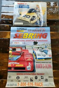 Lot of 2 Posters 12 HOURS OF SEBRING 1996  Joe Camel Grand Prix Racing Tobacco
