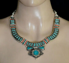 Ethnic Sterling silver Necklace handmade Ladies  Fashion Jewelry Turquoise NU2