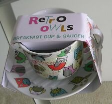 ReTrO OwLs Breakfast Cup & Saucer SET by Creative Tops tea coffee mug WINE CHARM