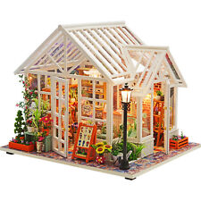 DIY Miniatures Dollhouse Wooden Model Kits LED Light Children Creative Toy Xmas