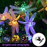 Outdoor LED Solar Dragonfly String Lights Fairy Garden Yard Lamp Decor Sun Light