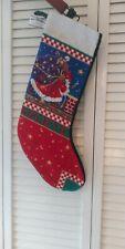"Mary Engelbreit ""Believe"" Needlepoint Christmas Stocking Santa Chimney"