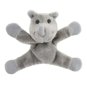 NEW - Cute Small Plush Grey Rhino Fridge Magnet Cuddly Soft Plush Toy Animal