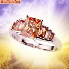 Queenly Petite 7 Stone Band Morganite 925 Silver Stamped Ring Size 6 - L