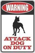 "*Aluminum* Warning Attack Dog On Duty Doberman 8""x12"" Metal Novelty Sign S370"